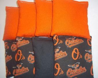 8 ACA Regulation Cornhole Bags - MLB Baltimore Orioles & Solid Orange