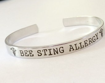 Medical alert bracelet - Hand stamped- Allergy Bracelet - Custom made to your medical alert