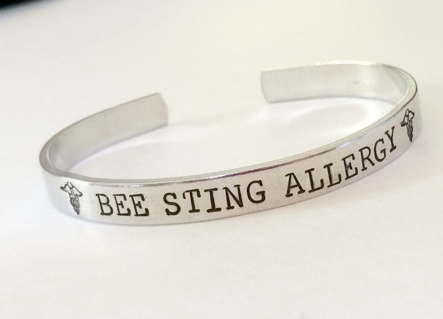 Medical Alert Bracelet Hand Stamped Allergy Bracelet