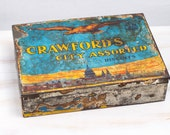 Vintage Rare Metal Tin Case Box Collectible Crawfords City Assorted Biscuits Scotland United Kingdom Memory Jewelery box Wedding Memory