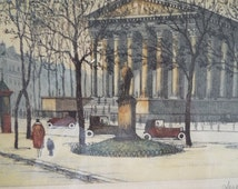 Antique Paris etching hand tinted by Jules LeRay pencil signed
