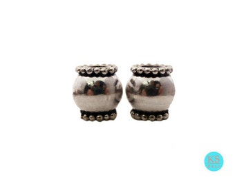 Two 12mm Sterling Silver Barrel Beads