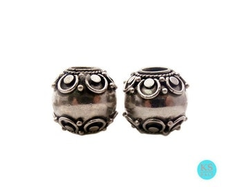 Two 12mm Sterling Silver Barrel Beads, 6.7 grams. Two 925 Sterling Silver Wire Work Barrel Beads handmade in Bali