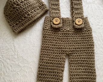 Handmade Crochet Baby Dungarees and Hat Set in Brown 0-3 Months