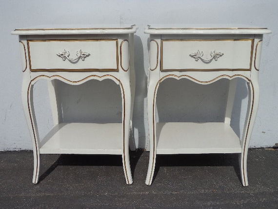 Sold vintage french provincial nightstands dixie by for French nightstand bedside table