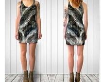 Black Bodycon Dress--Gray Bodycon Dress--Risky Waters Dress--Sleeveless Dress--Gray Swirl Dress--Womens Dress-Juniors Dress