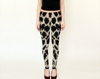 Animal Print Leggings-Cow Print Leggings-What Do You See? Leggings---Black Spots Leggings- Black Off White