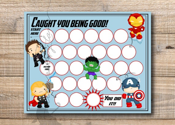 Reward Chart - Super Hero Reward Chart - Printable - Instant Download ...