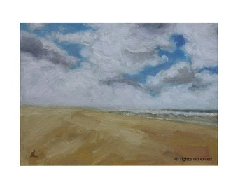 """Oil Painting ''Beach"""" Landscape Painting, Fine Art Oil on Canvas Panel, Small Original Painting Home Deco 13x18cm"""