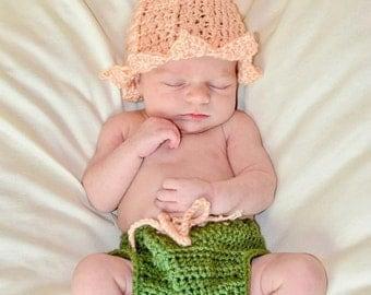 Newborn Crochet Flower Hat and Diaper Cover Set