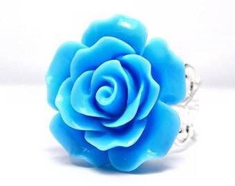 Sky Blue Rose Ring; Silver Filigree Ring; Blue Filigree Ring; Rose Jewelry; Rose Ring; Filigree Ring; Bright Blue Ring; Resin Rose Ring