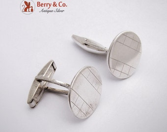Oval Geometric Square Cufflinks Sterling Silver Italy