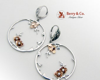 Large Round Cherry Blossom Dangle Earrings Sterling Silver CZ Gold Plated
