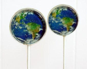 Planet Earth Wedding Favor Lollipops, World Wedding Favors Set of 30 Edible Image Lollipops, Celebration Party Favors, Mother Nature Favors