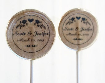 Rustic Wedding Favor Lollipops, Country Wedding Set of 6 Edible Image Lollipops Custom Wedding Favors Lollipops, Personalized Wedding Favors