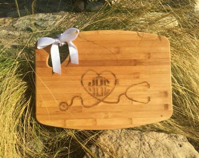 11x15 personalized nurse's cutting board with circle monogram.