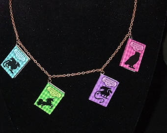 Magical Creatures Guide Book Necklace - Great Gift for Book Lovers!