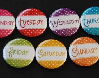 Days Of The Week Calendar Magnets - Fridge Magnets - Calendar Magnets - Menu Board Magnets - Housewarming Gift Magnets