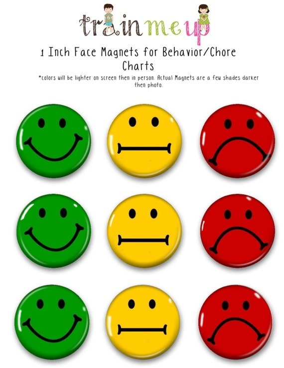 Face magnets for chore charts training magnets behavior for Smiley face behavior chart template