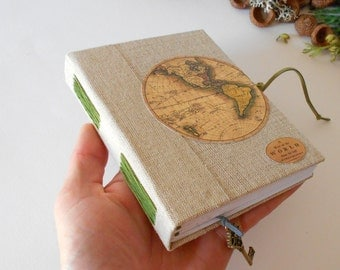 World map journal with rustic fabric hardcovers- Eco-friendly map sketchbook with 200 recycled pages- Burlap fabric travel journal
