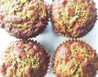 Organic Zucchini Muffins / Gluten Free / Low Carb / Paleo Friendly / Wheat Free