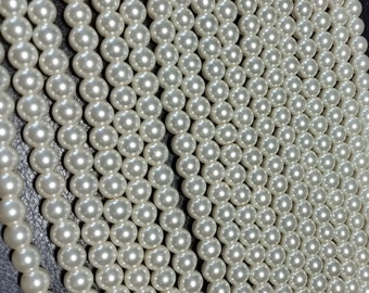 Egg Shell round glass pearls - 8mm