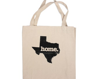 Tote Bag, All 50 States! Home State Apparel: home. State Black Water-Based Ink Print on 12 oz. Canvas Bag