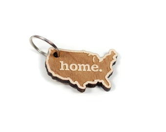 United States of America Home Key Charm by State Apparel: Laser Engraved Wood Keychain, USA