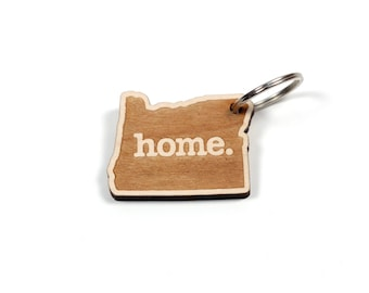 Oregon Key Charm by Home State Apparel: Laser Engraved Wood Keychain, OR
