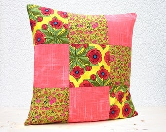 "Handmade 18""x18"" Patchwork Cotton Cushion Pillow Cover in Pink/Red/Yellow & Green Floral Laura Gunn Painter's Canvas Design Print"
