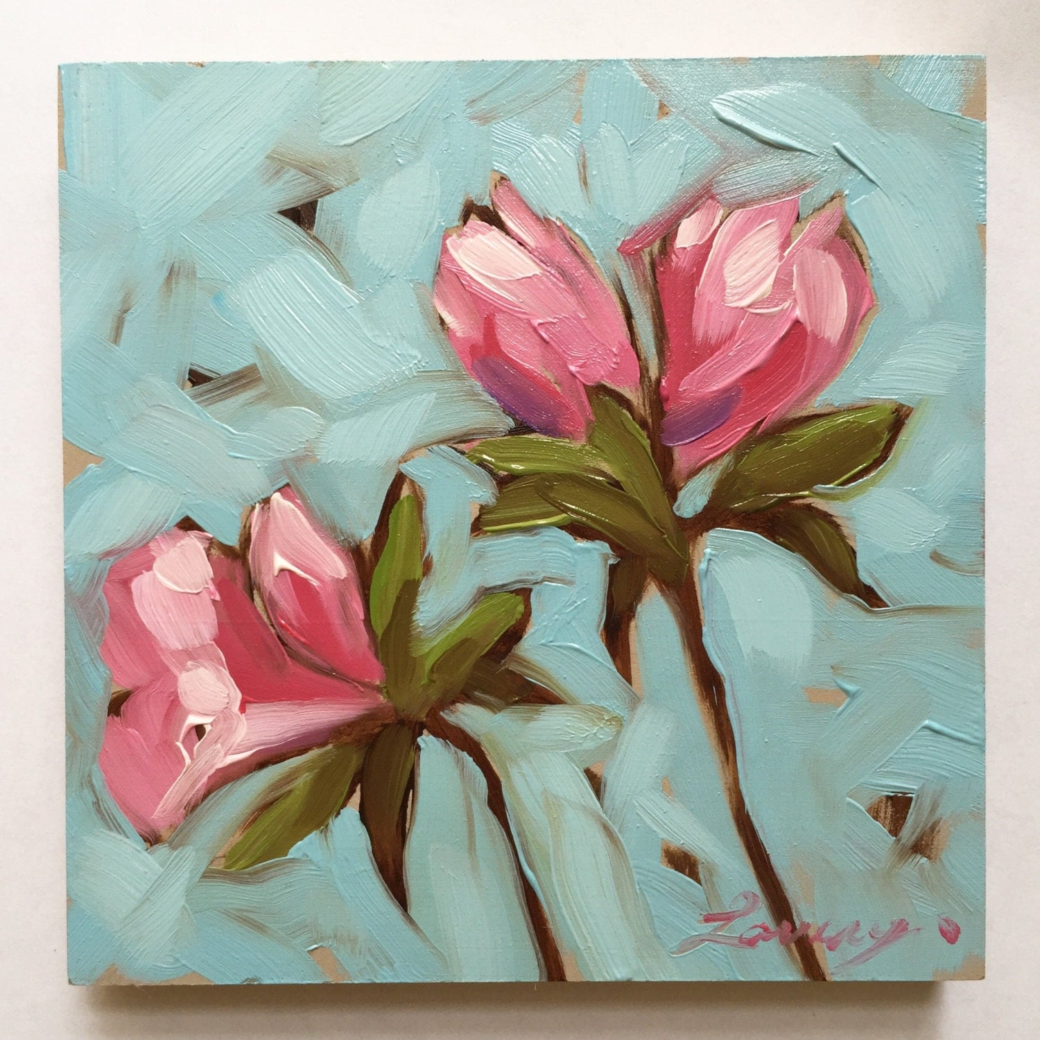 Watercolor Flower Painting: Flower Painting Pink Azalea Flowers 4x4 Inch Impressionistic