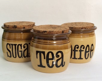 Vintage storage jars tea coffee sugar kitchen canisters retro vintage jars containers TG Green England kitchenalia 1970s