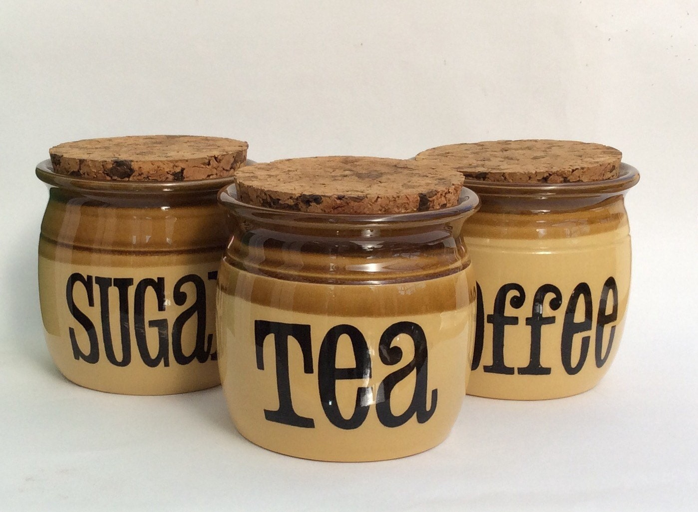 Vintage storage jars tea coffee sugar kitchen canisters retro