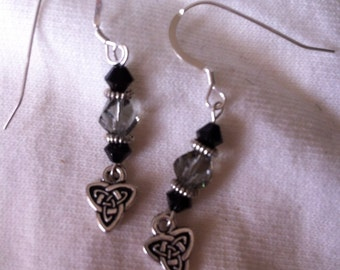 Black diamond and silver pierced earrings with Celtic knot charms.