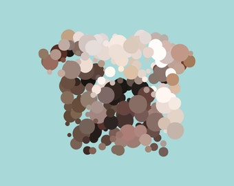 Dots and Dogs art print. Bulldog