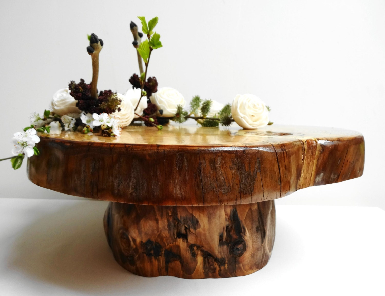 1413 Rustic Cake Stand Wood Cake Stand Rustic By DaliasWoodland. Full resolution  portrait, nominally Width 1500 Height 1152 pixels, portrait with #4A640C.