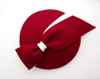 Red Felt Fascinator Hat - Wedding Hat, Ladies Hat, Occasion Hat, Mini Hat, Felt Hat, Wine, Burgundy, Tea Party, Races, Percher Hat