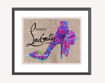 Louboutin Bow Shoes Personalised Art Dictionary Page Print Home Decor Ladies Bedroom Gift Wedding Birthday 8x10 10x12 12x16 16x20 A3 A2 A1