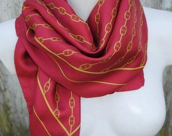 Wonderful classic burgundy red  golden chains print  vintage silk twill scarf.