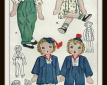 Vintage Cloth Doll Pattern - Twins Janie And Johnny - 11 1/2 Inches High - Outfits Included - On PDF