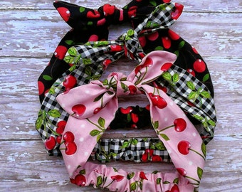 3 black, pink and gingham cherries headband bandana top knot tie hair bow retro pinup style with elastic!