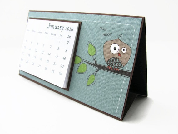 Table Calendar 2016 : Owl desk calendar desktop calendarbrown
