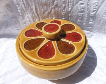Flower Power Calif Pottery Covered Casserole Dish