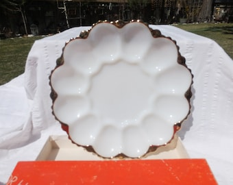 You CHOOSE:  Milk Glass Divided Dish/Relish Tray With Gold Trim OR Milk Glass Egg Plate With Gold Trim - Anchor Hocking with Original Box