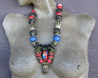 Ethnic Jewelry, African Necklace, African Jewelry,Trade Beads, South Africa,Boho Style,Tribal Jewlery,Afro Jewelry, Adjustable Necklace A124