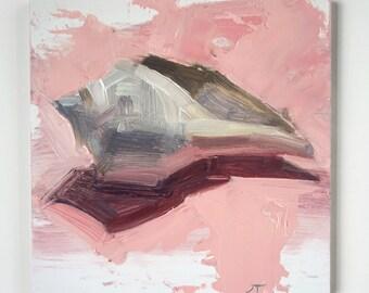 "Seashell oil painting- 4x4"""