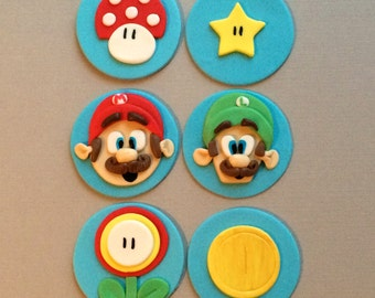 Mario Brother's Cupcake Toppers | Fondant