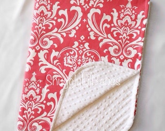 Coral damask, minky blanket with white minky dot