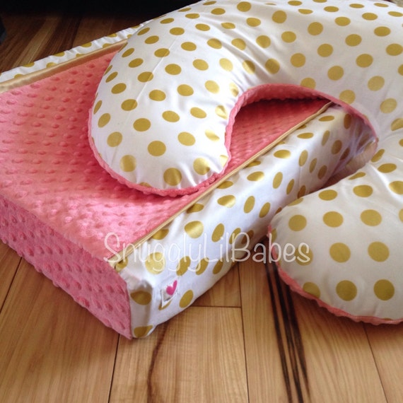 coral gold boppy changing pad cover gold polka by snugglylilbabes. Black Bedroom Furniture Sets. Home Design Ideas