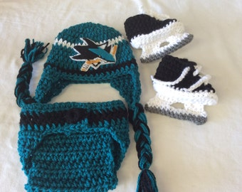 San Jose Sharks Baby Crochet Hockey Earflap Hat, Diaper Cover, and Skate Booties.